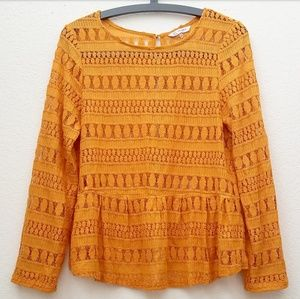 Christy&Co Tangerine Long Sleeve Lace Crochet Top